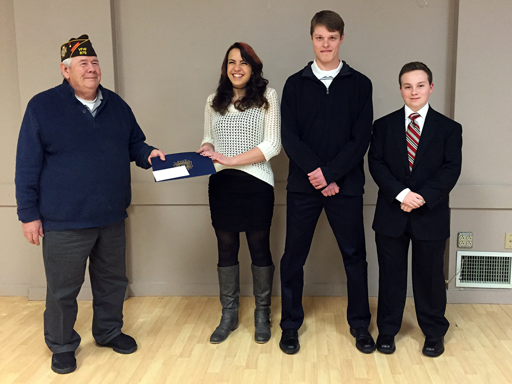 From left to right: Post 879 Commander, Hugh MacPherson, Hannah Hale, Nate Konieczka, & David Grimm